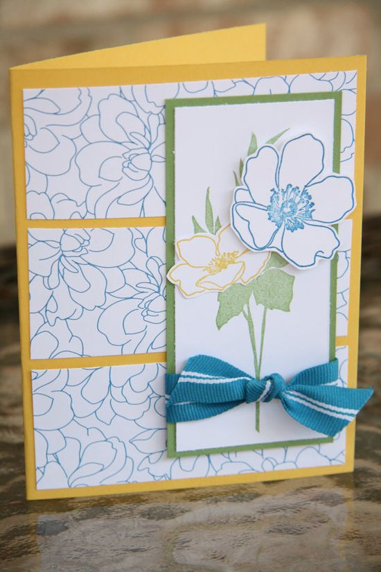 Hand stamped bold flower greeting card in blue by emkcreations, $4.00