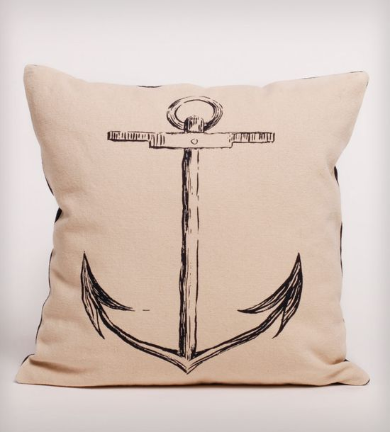 Black Anchor Organic Cotton Pillow