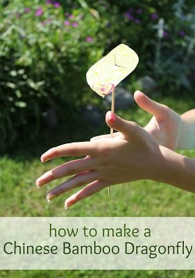 Chinese Toy: How to Make a Bamboo Dragonfly by Marie's Pastiche. Kids will love making these fun flying toys. Grown-ups will love the detailed tutorial!