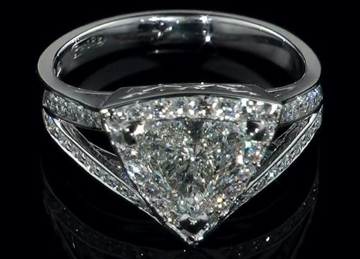 Engagement Ring - Trillion Diamond Halo Engagement Ring  Pave Split Band - ES1125