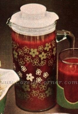 Pyrex Spring Blossom Green open-handle pitcher; 1972 advertisement.
