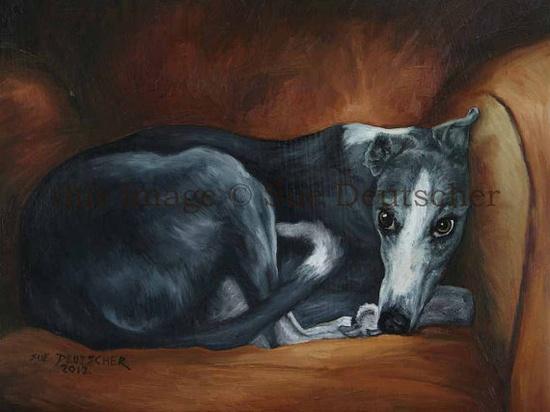 Whippet sight hound original oil painting dog art by Sue Deutscher, $89.00 suedeutscher.com