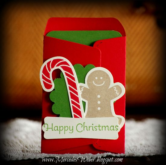 christmas gift card holder  #Stampin' Up!  #Scallop Envelope