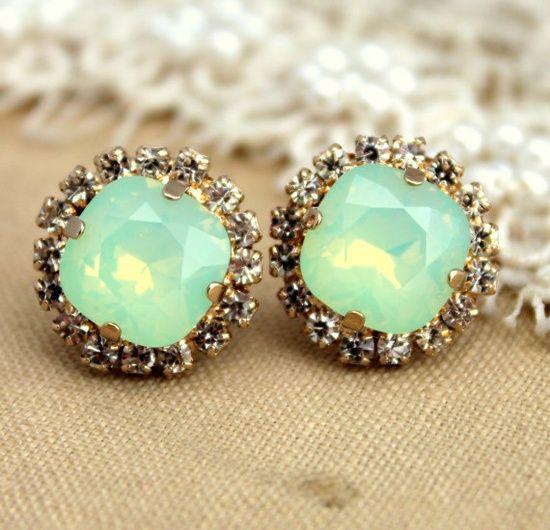 Mint green seafoam Crystal stud Petite vintage earring