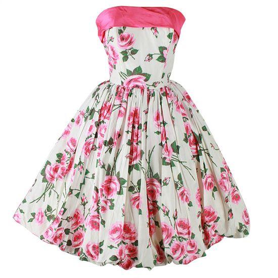 ~Vintage 1950's Pink Roses White Bubble Hem Strapless Dress~