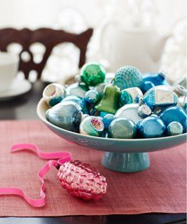 Super-simple holiday decorating idea: a pretty bowl holding ornaments.