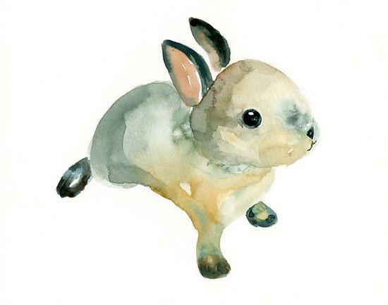 Watercolor bunny by dimdi on etsy