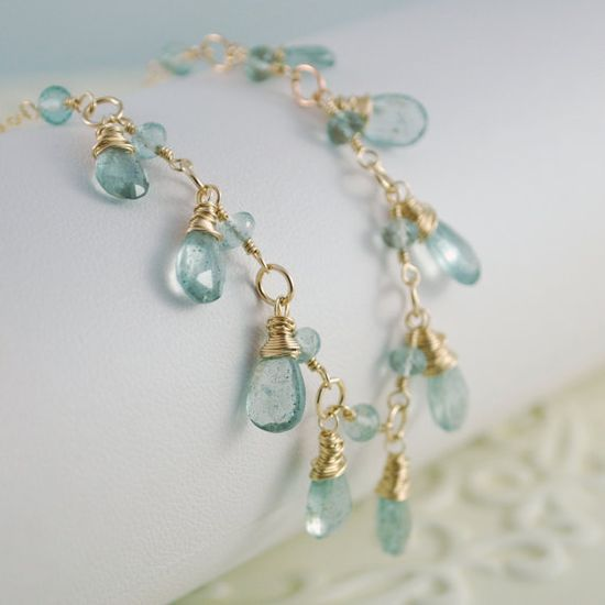 Moss Aquamarine Necklace Drops Gold Jewelry by livjewellery, $99.00