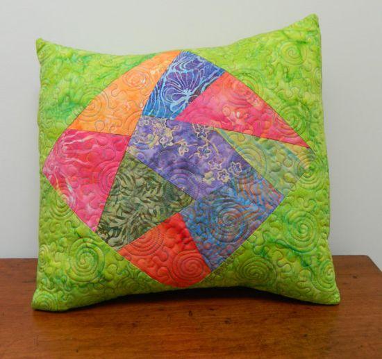 Patchwork Quilted Pillow - Green, Red,  Blue, Purple, Cindy Grisdela Art Quilts /// TAFA Market, Green Collection /// www.tafaforum.com...