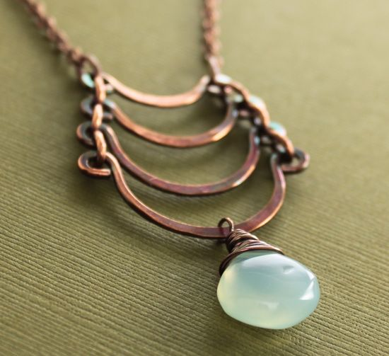 Inspiration - Egyptian copper necklace with cascade and light.