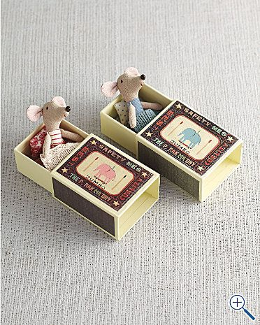 """Matchbox Mice: Oh so cute! Choose Boy or Girl. Mouse: 4 1/2"""". $28 - could be a good diy project!"""