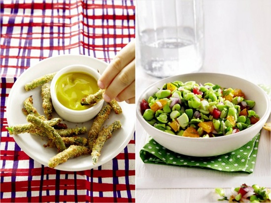 Broccoli pesto, baked/breaded green beans with honey-mustard dipping sauce