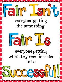 Here's a poster defining what fair means in the classroom.