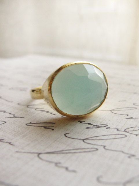 Chalcedony gold ring - mint green ring - Simple gold rings - On Etsy.com