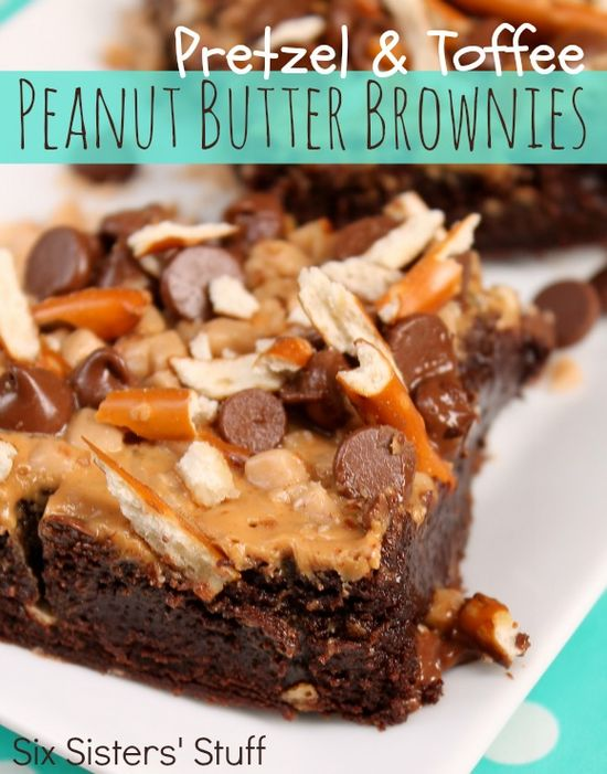 Pretzel and Toffee Peanut Butter Brownies from SixSistersStuff.com.  All our favorite things in one brownie! #recipes #dessert #brownies