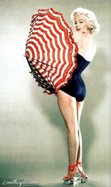 Marilyn Monroe with Umbrella red vintage celebrity famous beauty hollywood marilyn monroe pinup icon