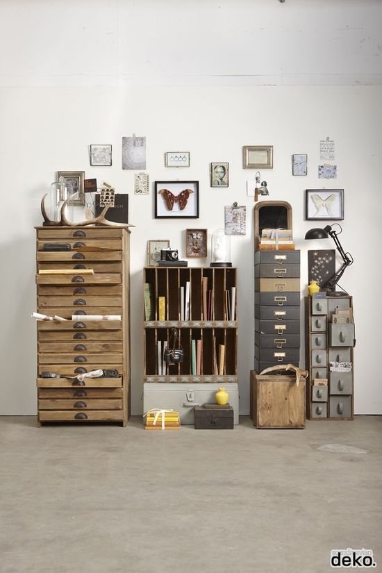 Hübsch HOME INTERIOR & DESIGN storage industrial drawers room