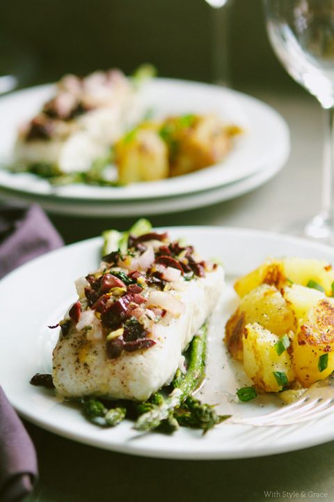 Baked Halibut with Olives, Asparagus & Potatoes