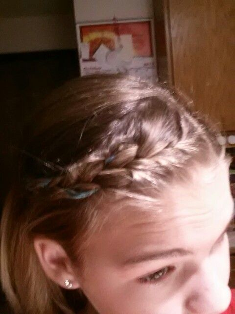 Front french braid with feather