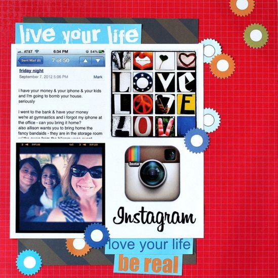 Scrapbook page by Katie Scott about loving Instagram