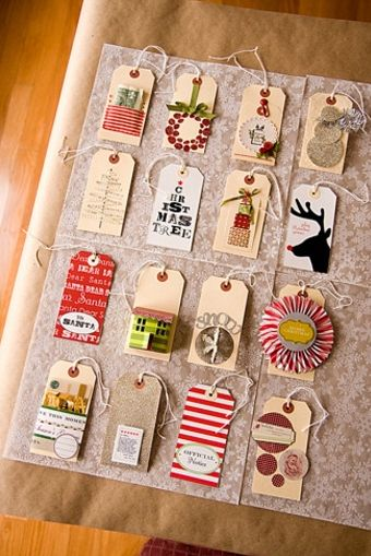 turn last year's christmas cards into this year's gift tags--super clever.