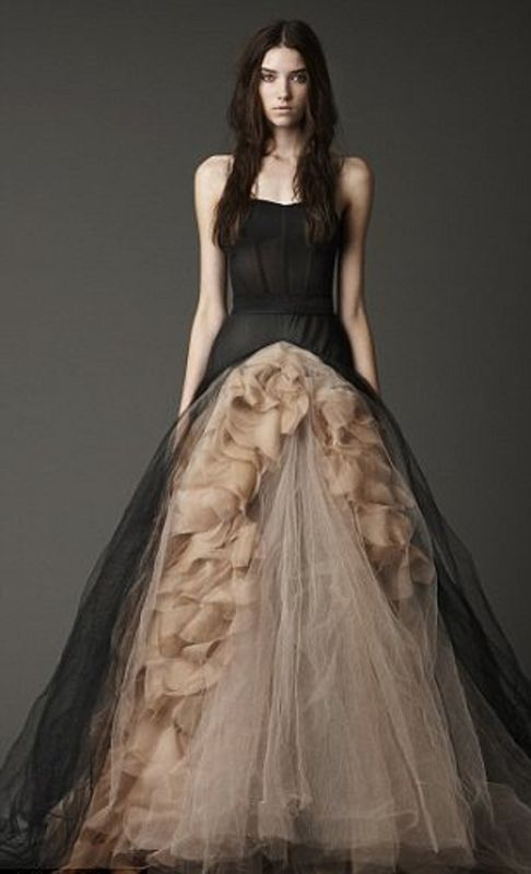 gown with ruffles and tulle