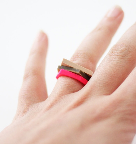 pick a color hand cut geometric stacking rings. $12.99, via Etsy.