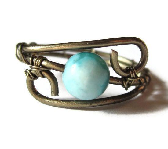 Turquoise Boho RIng - Bohemian Jewelry -  Custom size rings. $11.00, via Etsy.