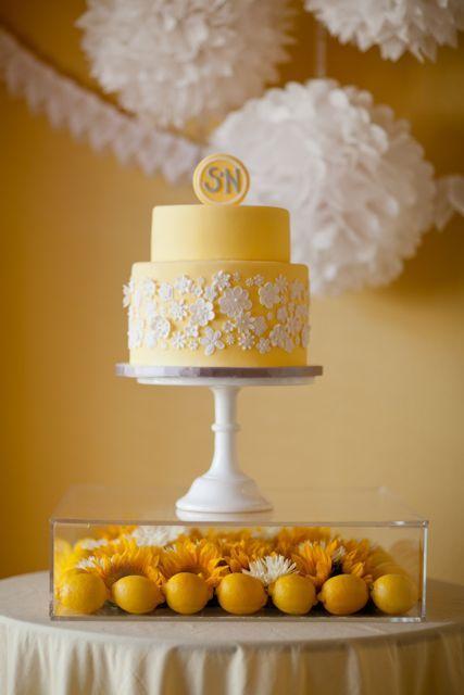 pretty yellow cake + lucite stand