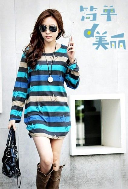 Korean Fashion Hot Selling Stars Stripe Women Shirt