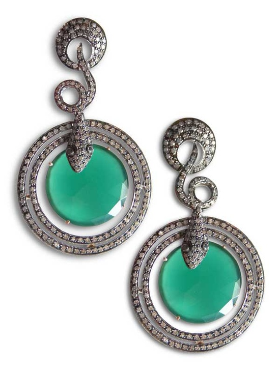 Diamond and Onyx Snake Earrings