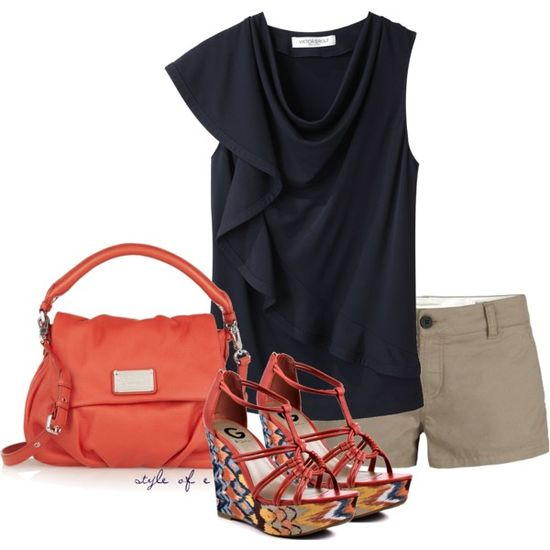 """Navy and Bold Coral"" by styleofe on Polyvore"