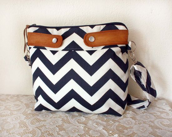 Crossbody Chevron Purse / Nautical look // Navy/White stripe & faux suede-- Made to Order--Save10% w/ Coupon Code SAVE10. $49.00, via Etsy.