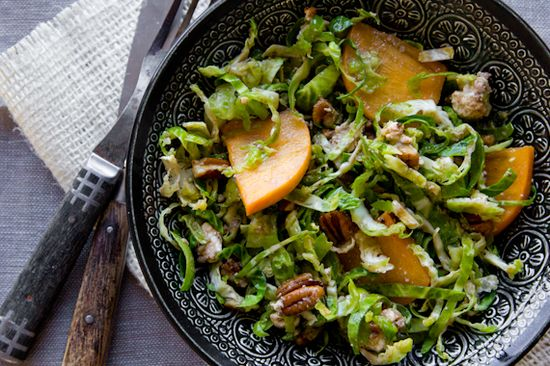shredded brussels sprout salad + persimmons