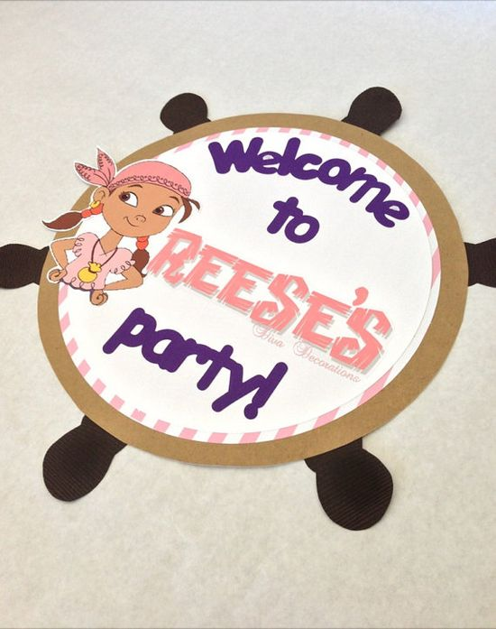 Izzy from Jake and the Neverland Pirates Birthday Party Door Sign