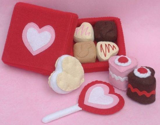Valentine Sweets Felt Food PDF Pattern - Box Chocolates, Lollipop, Heart Petit Fours  Cakes, Sandwich Cookie. $5.99, via Etsy.