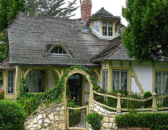 fairytale cottage, stone wall and arches