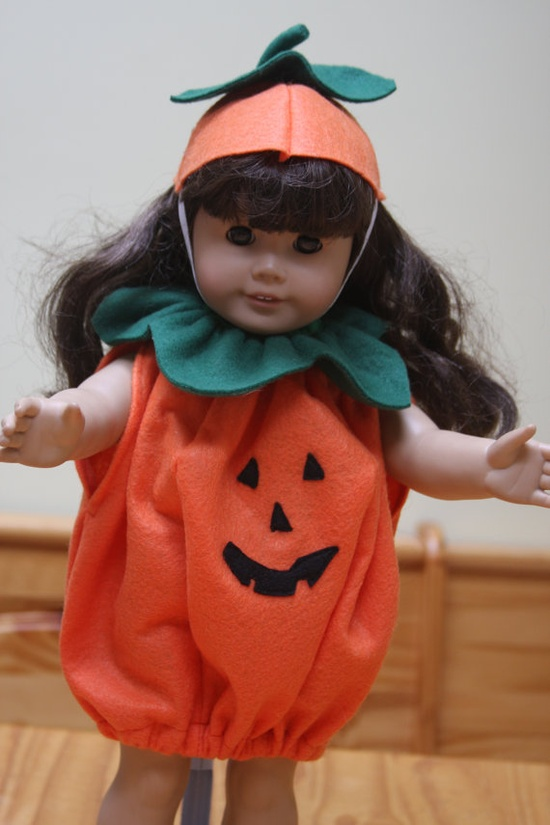 18 American Girl Doll Halloween Pumpkin Costume Hat by sewlucky42, $18.99