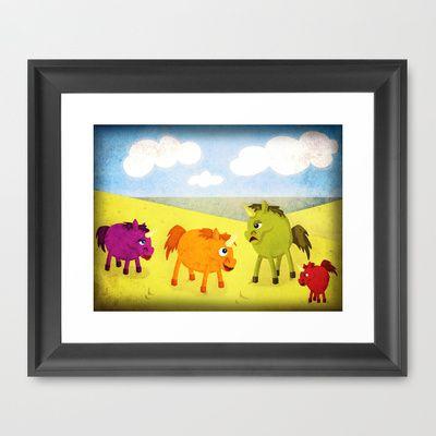 Annoying Orange Unicorn V02 Framed Art Print by That's So Unicorny - $32.00