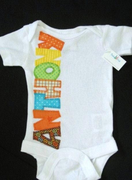 Baby boy onesie with custom name via Etsy - such a cute idea :)