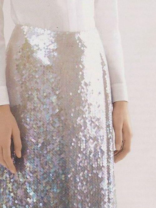 sequin skirt, white top