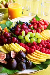 FRESH FRUIT PLATTER DESSERT ~ As simple or as complicated as you like. Beautiful fresh fruit, sliced and whole, arranged beautifully on a platter. The melange of colors and textures is gorgeous, and adaptable to any season.