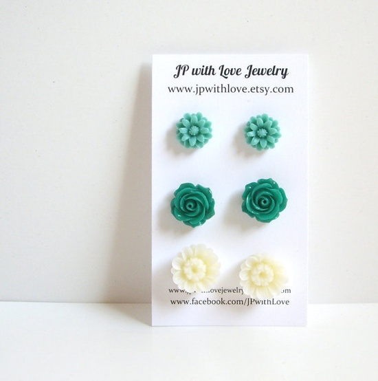 Stud earrings teal stud earrings green Stud earrings  $18.00