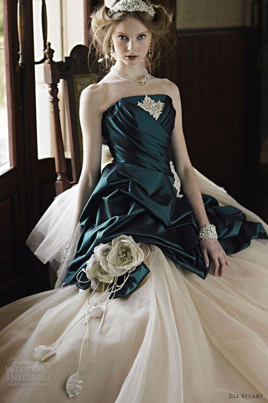 jill stuart wedding dresses 2012 emerald green strapless ball gown