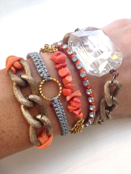 Coral Summer Arm Candy Bracelet Stack, #bracelets, #arm candy, #stacked, #coral, #summer