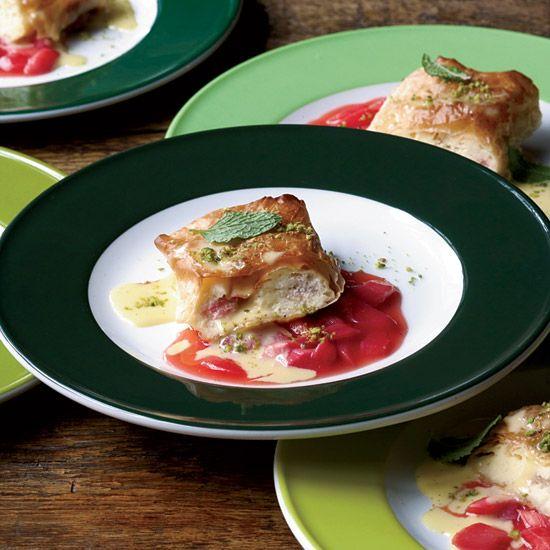 Rhubarb-Cheese Strudel with Vanilla Sauce // More Make-Ahead Desserts: www.foodandwine.c... #foodandwine