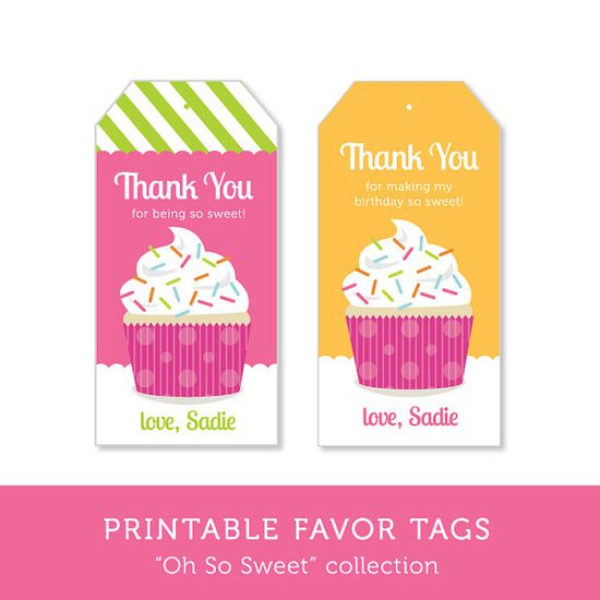 Cupcake Birthday Party  Printable Favor Tags by RoxterDesigns, $8.00