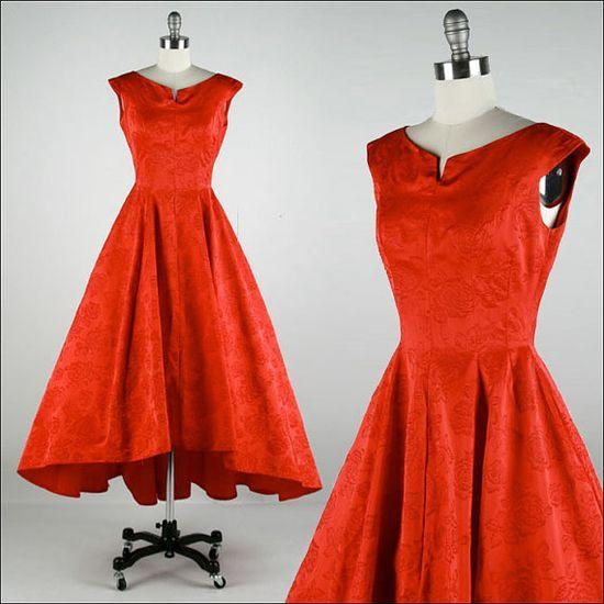 Vintage 1950s Dress  Red Satin  Flocked #retro #partydress #romantic #feminine #fashion #vintage #designer #classic #dress #highendvintage