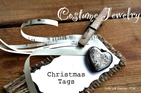 handmade Christmas gift tags with costume jewelry details - fun!
