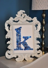 Framed button monogram.  What a great handmade gift idea!